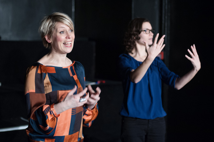 Glasgow Girls pre-show talk for Deaf Theatre Club members, February 2014. Glasgow Girls writer Cora Bissett (left) and BSL Solar Bear signer Amy Cheskin (right).Photo by Tommy Ga-Ken Wan.