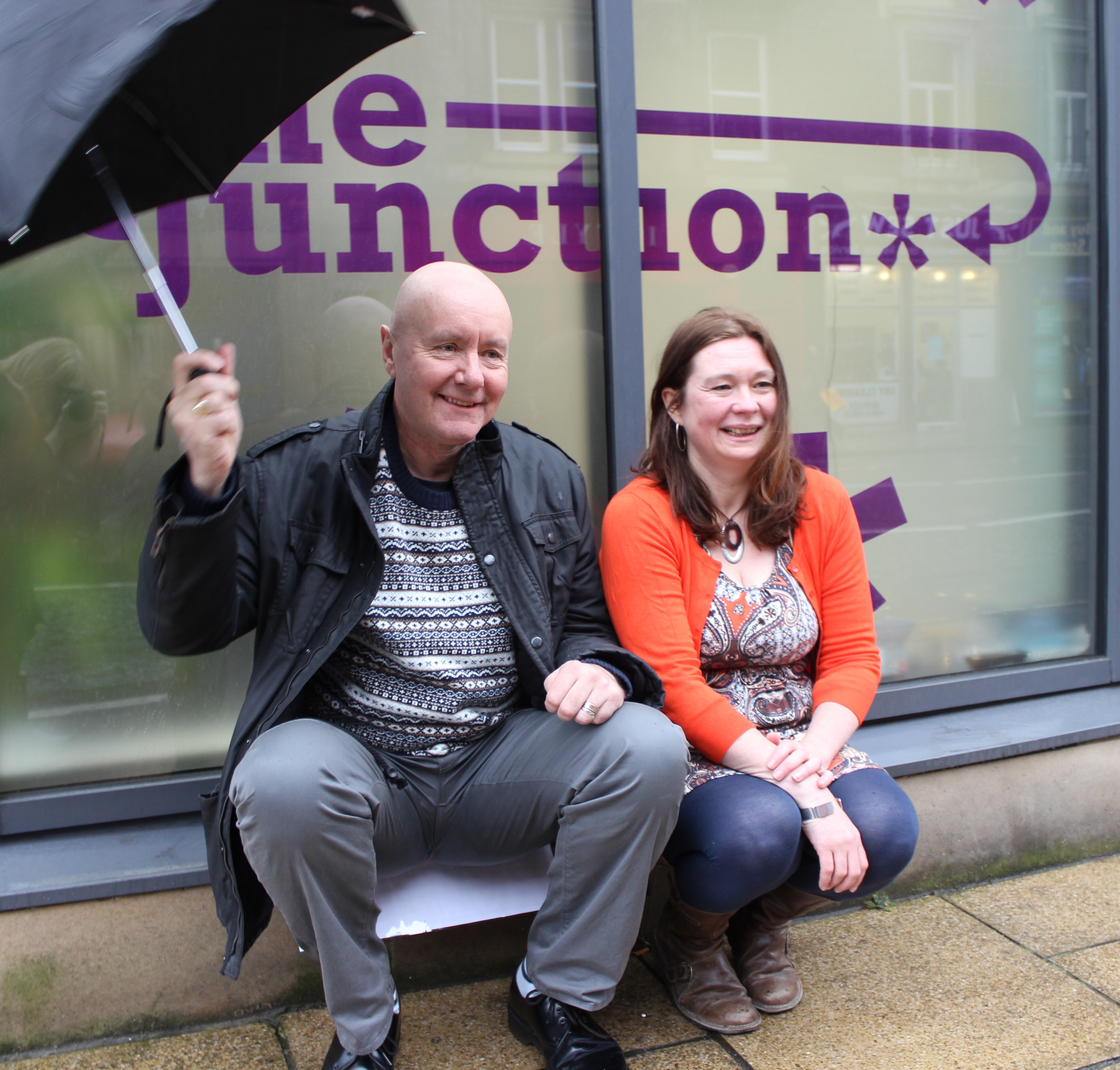 Right to left: Sam Anderson, Director at the Junction. Irvine Welsh, Patron at the Junction.